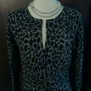 100 percent cashmere leopard cardigan EUC